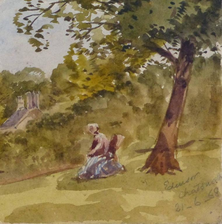 Antique Watercolor Landscape - Derbyshire, England - Art by Edensor Chatsworth