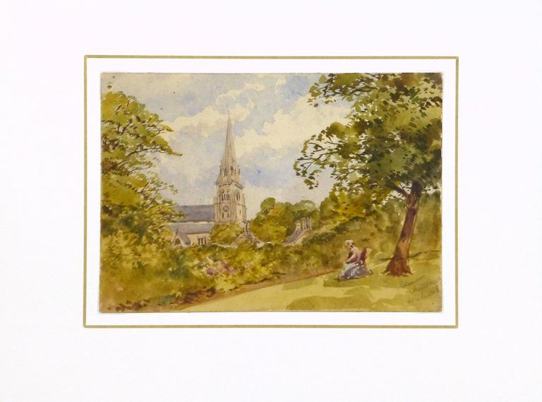 Dreamy antique watercolor landscape of a picturesque scene of a church steeple rising from the foliage as a female figure rests under the shade of a nearby tree by artist Edensor Chatsworth, 1868. Signed and dated lower right.  Original