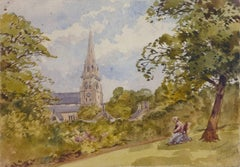 Antique Watercolor Landscape - Derbyshire, England