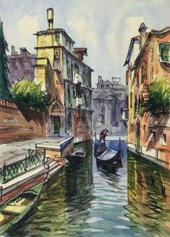 Vintage Watercolor Landscape - Venice Canal