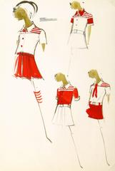 Vintage Balmain Fashion Sketch - Red Outfits