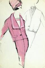 Vintage Balmain Fashion Sketch - Pink Suit