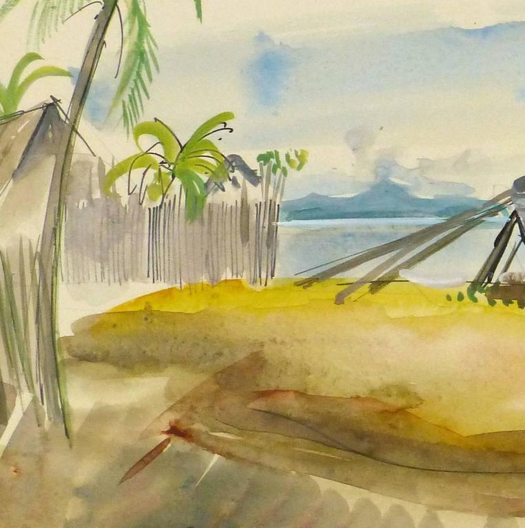 Vintage French Watercolor Landscape - Madagascar Beach - Art by Stephane Magnard