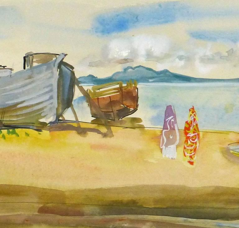Vintage French Watercolor Landscape - Madagascar Beach - Beige Landscape Art by Stephane Magnard