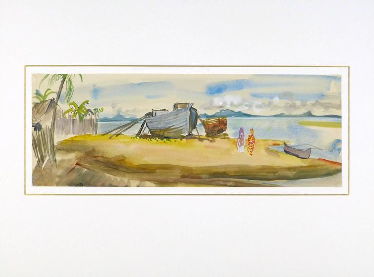 Expertly rendered watercolor landscape of boats moored along a small beach in Madagascar Africa by French artist Stephane Magnard (1917-2010), circa 1950.   Original one-of-a-kind artwork on paper displayed on a white mat with a gold border. Mat