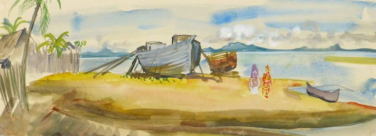 Stephane Magnard Landscape Art - Vintage French Watercolor Landscape - Madagascar Beach
