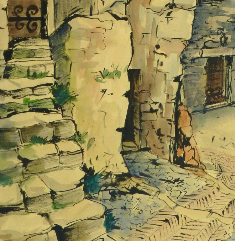 Vintage French Watercolor - Village de Provence - Art by Augustin Faure