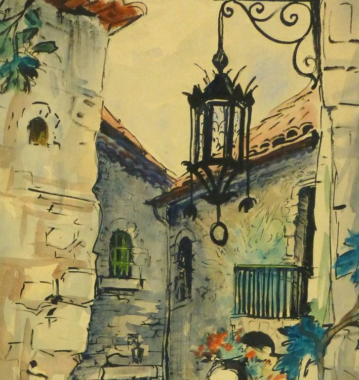 Vintage French Watercolor - Village de Provence - Brown Landscape Art by Augustin Faure