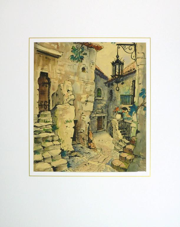 Impressive watercolor landscape of a charming old world scene of a village in Provence, France by artist Augustin Faure, circa 1950.  Original one-of-a-kind artwork on paper displayed on a white mat with a gold border. Mat fits a standard-size