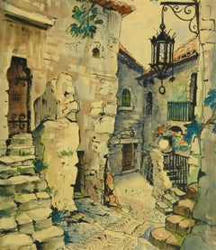 Vintage French Watercolor - Village de Provence