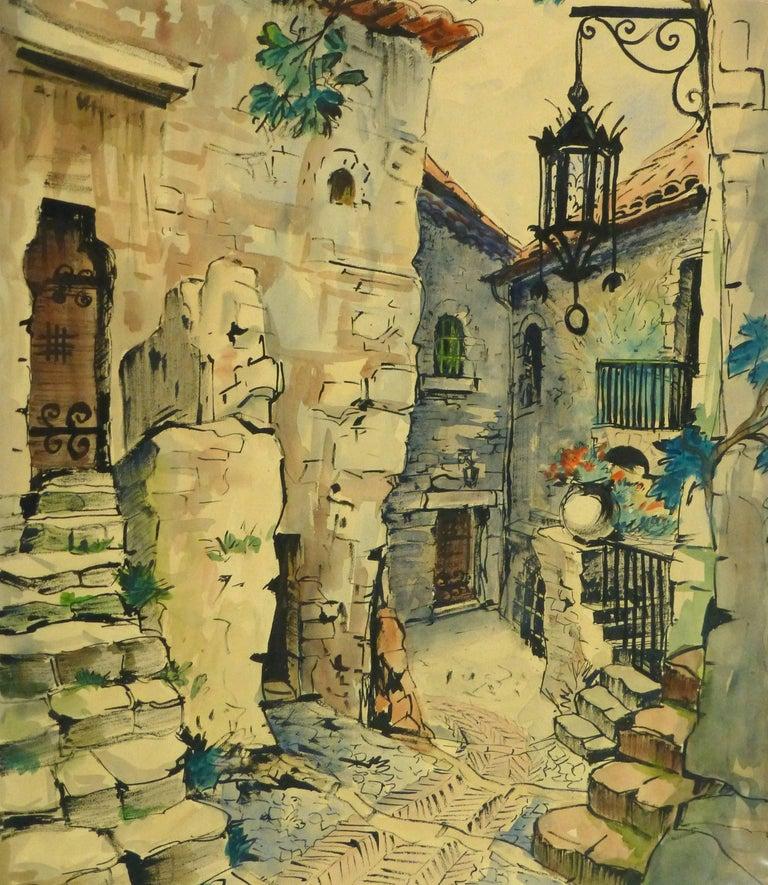 Augustin Faure Landscape Art - Vintage French Watercolor - Village de Provence