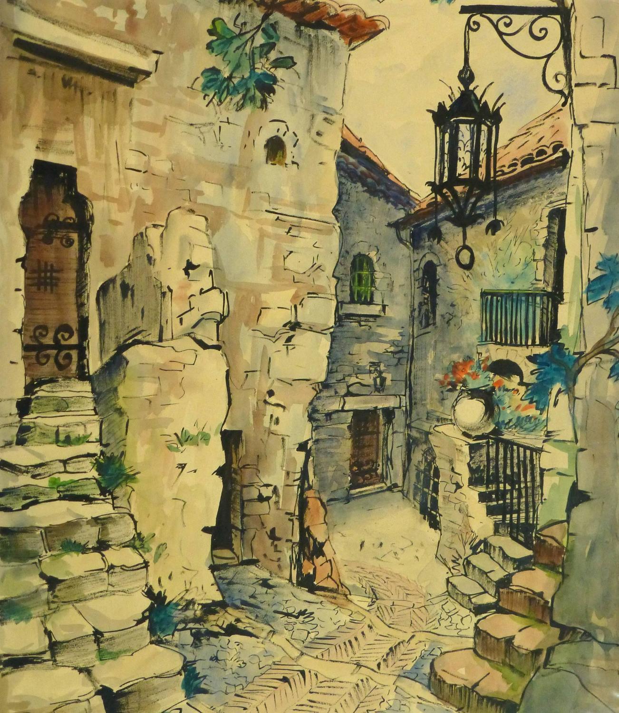Augustin Faure - Vintage French Watercolor - Village de Provence For ...