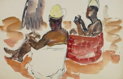 Vintage French Watercolor - African Villagers