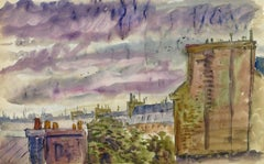 Vintage French Watercolor - Rooftops of Paris