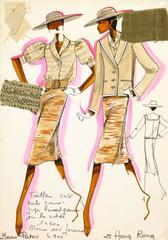Vintage French Fashion Sketch - Beige Outfits
