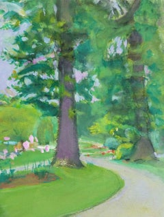 Vintage French Watercolor Landscape - Luxembourg Gardens