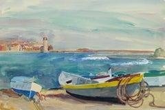 Vintage Watercolor Seascape - Shoreline