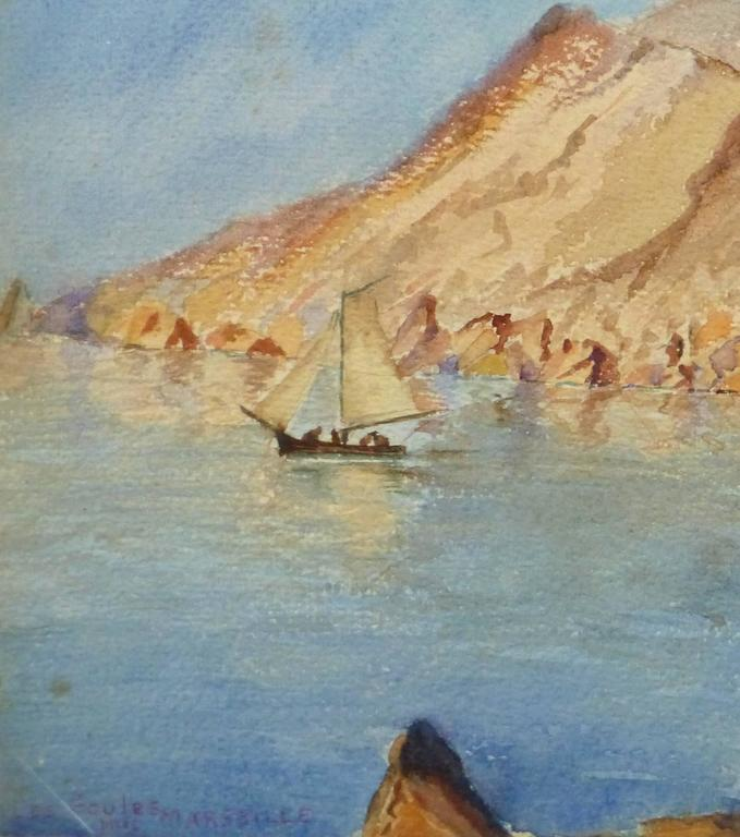 Vintage Watercolor Landscape - Les Goules - Art by Unknown