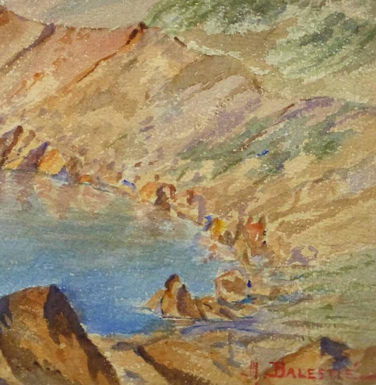 Vintage Watercolor Landscape - Les Goules - Gray Landscape Art by Unknown