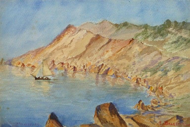 Unknown Landscape Art - Vintage Watercolor Landscape - Les Goules