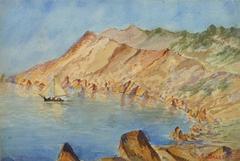 Vintage Watercolor Landscape - Les Goules