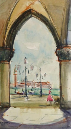 Vintage Watercolor Landscape Painting - View of Venice