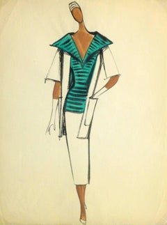 Vintage Balmain Fashion Sketch - Green Striped Blouse