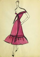 Vintage Balmain Fashion Sketch - Magenta Gown