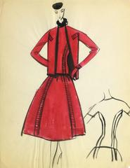 Vintage Balmain Fashion Sketch - Red Dress and Coat