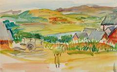 Vintage Watercolor Landscape - Fields of Madagascar
