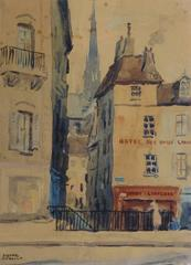 Vintage Paris Watercolor Landscape - Rue des Chantres