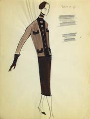 Balmain Fashion Sketch - Skirt Suit