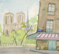 French Watercolor Painting - Paris Notre Dame
