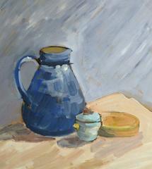 Vintage French Oil Still Life - Blue Pitcher