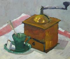 Vintage French Oil Still Life - Coffee Grinder
