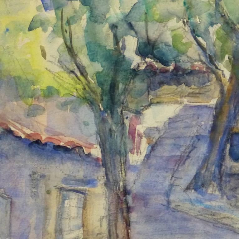 Vintage French Watercolor Landscape - Village Path - Gray Landscape Art by Jacques Bouillac