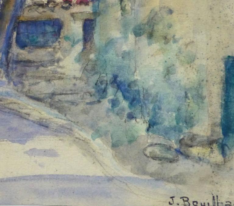 Vintage French Watercolor Landscape - Village Path - Art by Jacques Bouillac
