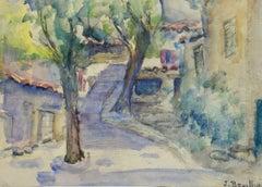 Vintage French Watercolor Landscape - Village Path