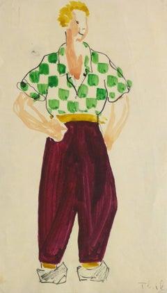 Vintage Paris Theater Costume Sketch