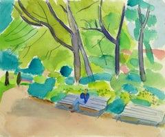 Vintage French Watercolor - Paris Park