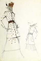 Vintage Balmain Fashion Sketch - Polka Dots