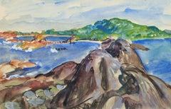 Vintage French Watercolor Seascape - Rocky Coastline