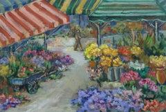 Vintage Oil Painting - Flower Market