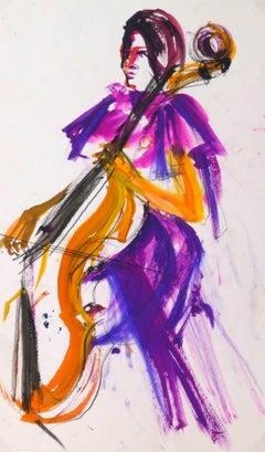 Vintage Gouache Painting - The Cellist