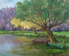 Vintage Oil Painting - The Lake's Edge