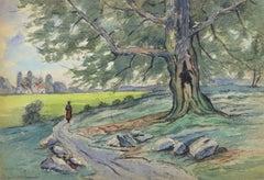 Vintage Watercolor Landscape - Charentonneau