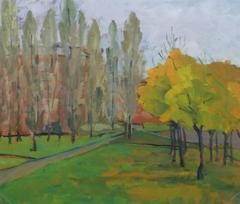 Vintage Oil Landscape - Autumn Trail