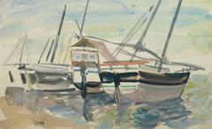 Vintage Watercolor Seascape - Boats