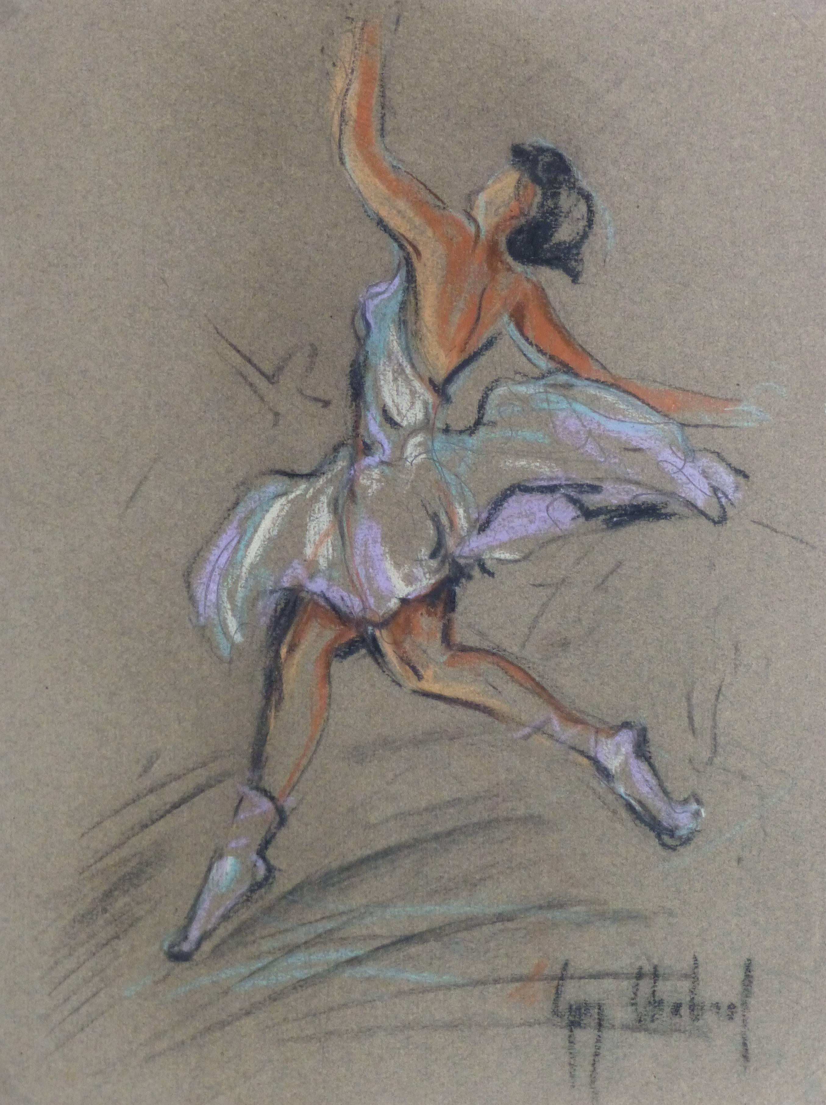 Vintage Charcoal & Pastel Drawing - Ballet Dancer