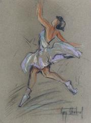 Vintage Charcoal & Pastel Drawing - Ballet Dancer